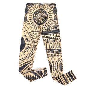 Dsquared2 Sheer Mesh Tribal Print Leggings